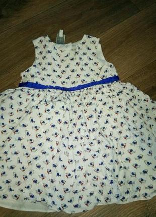 Платье летнее  с птичками на 2-3 года