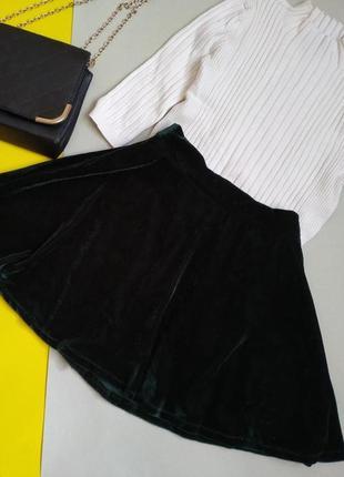Велюровая мини-юбка ,темно-зеленый цвет