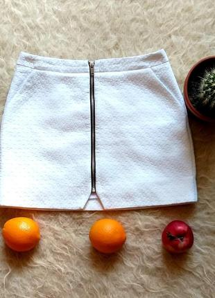 Белая короткая летняя юбка с замочком от topshop