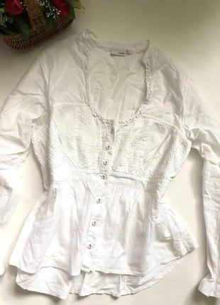 Белая котоновая блуза рубашка plus size