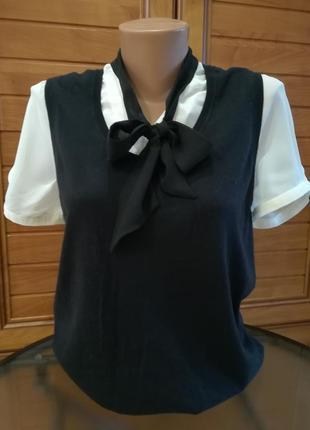 Комбинированная кофточка-блуза