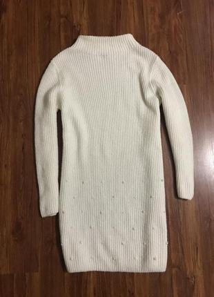 Туника, платье - кофта, белого цвета