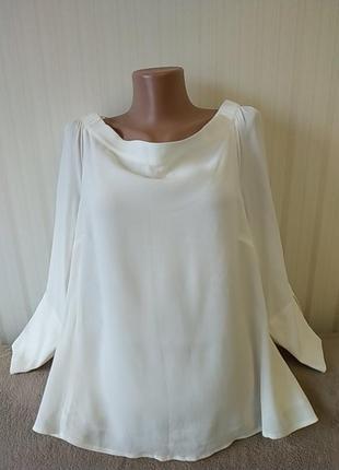 Блузка молочного цвета, рукав 3/4, вискоза, идеальное состояние, р 18