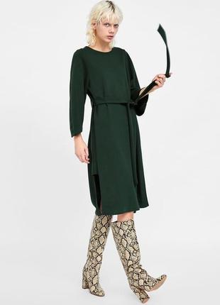 Изумрудное миди платье zara c поясом s-m