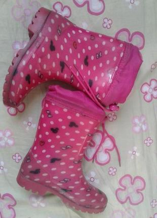 Dual резиновые сапоги девочке с утепленным носком на шнурке 28р 18см