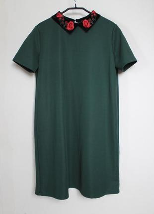 Zara платье с бархатным воротником с вышивкой