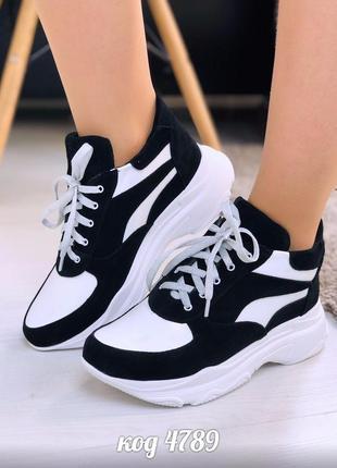 Черно-белые высокие кроссовки из  натуральной замши и кожи