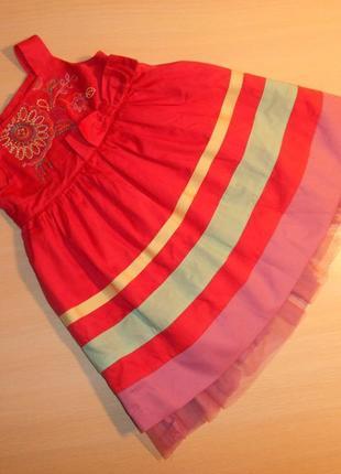 Нарядное фирменное платье сарафан marks&spencer 3-6 мес, 62-68 см, оригинал