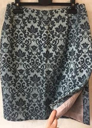 Жаккардовая юбка-карандаш, прямая юбка с боковым разрезом karen millen, s-m