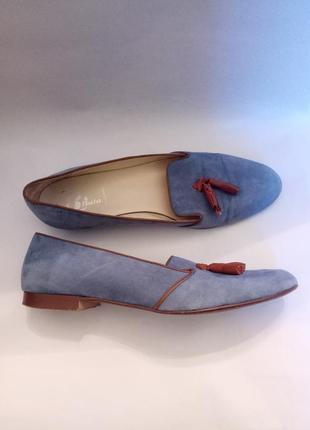 Замшевые голубые слиперы туфли мокасины  лоферы бата bata