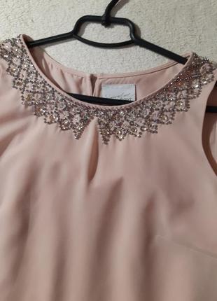 Нежное пудровое платье, спинка плиссе. размер xs4
