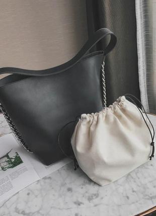 Сумка шоппер женская. сумочка тоут черная