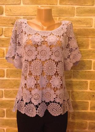 Блуза нарядная кружевная ажурная 100% коттон  размер 10