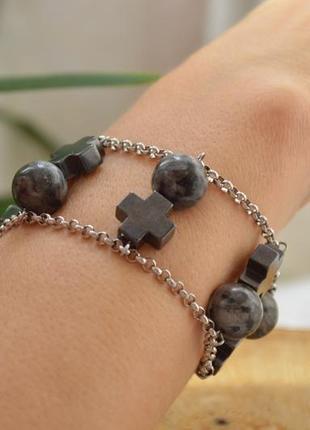 Браслет с лаврикитом и гематитом ′знак венеры′ сталь