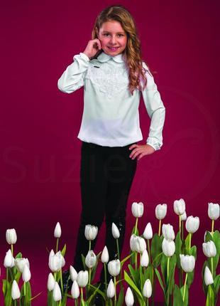 Белая блузка  с ажуром для девочки р.122-140