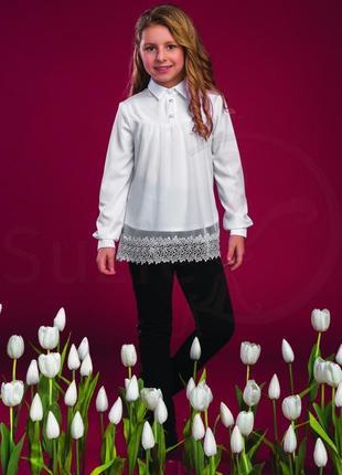 Блузка белая для девочки тм сьюзи р.122-140