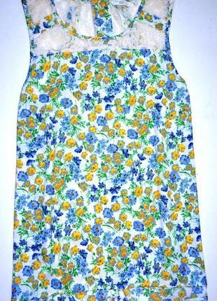 New look. шифоновая блуза в цветочный принт с гипюровыми вставками. 3хл. 18-й