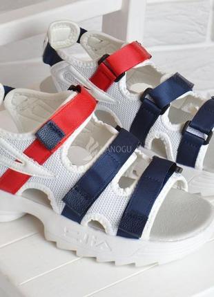 Босоножки женские спортивные белые на липучках le&mon на платформе5 фото