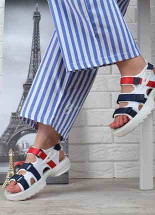 Босоножки женские спортивные белые на липучках le&mon на платформе