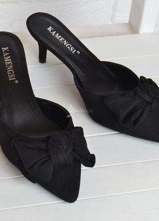 Шлепанцы женские на каблуке сабо мюли vanessa черные с бантом