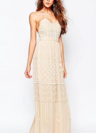 Бежевое макси платье, расшитое бисером и пайетками 142113 frock & frill размер uk14 (m/l)