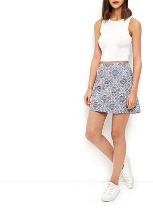 Юбка-трапеция из жаккарда нежно-голубого цвета new look мини юбка с высокой талией