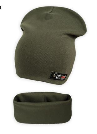 Трикотажный комплект шапка с хомутом классик на ог. 50-55см1 фото