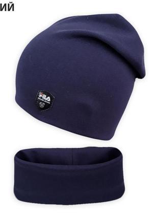 Двойной комплект шапка с хомутом томми ог. 50-55см