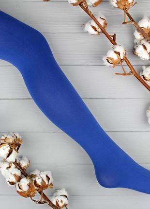 Ярко-синие матовые колготки из микрофибры р. 2(s), 3(m) tezenis