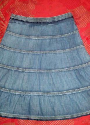 # розвантажуюсь джинсовая   юбка миди в оборки 46, oasis