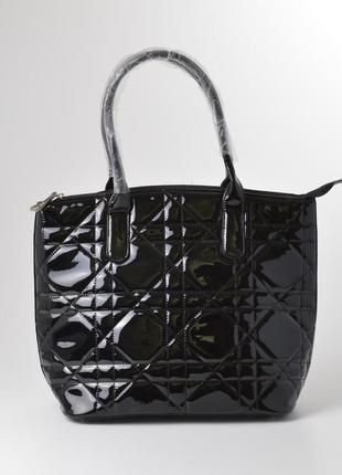 Лаковая сумка 7v9991-1 стеганая черная