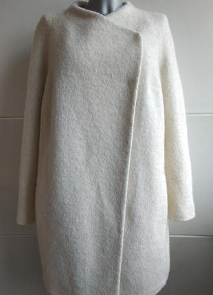 Шикарное пальто-кокон бренда премиум класса autograph marks&spencer белого цвета