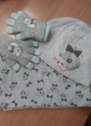 Комплект шапка, хомут и перчатки