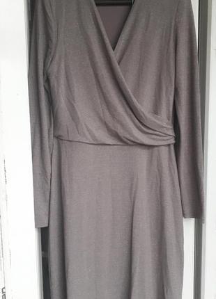S.oliver вечернее нарядное платье миди на запах длинный рукав с люрексом