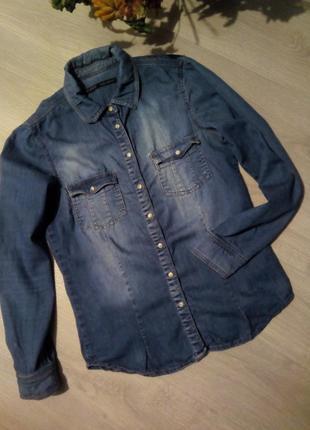 Котоновая брендовая рубашка zara