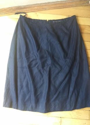 Шелковая синяя юбка