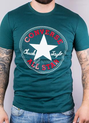 Футболка мужская converse хлопковая темно-зеленая