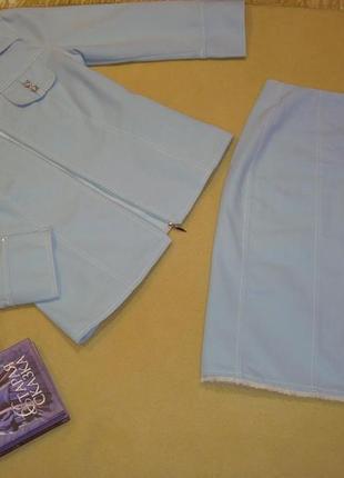 Шикарный джинсовый костюм двойка жакет + юбка daniel ricci