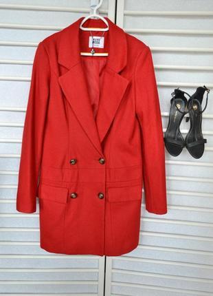Красное двуботное пальто, шерсть vero moda