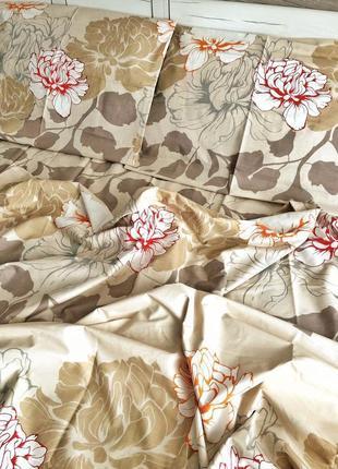 Постельный комплект бежевый цветы ткань бязь