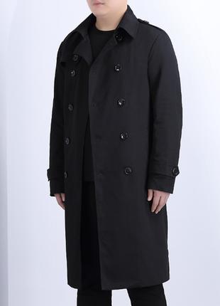 Новое мужское черное пальто
