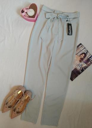 Летние лёгкие актуальные штаны с высокой посадкой/серые брюки с высокой талией от boohoo