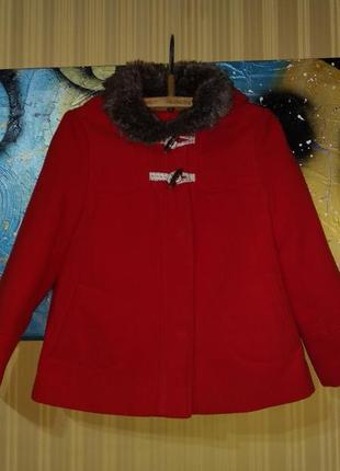 """Красное пальто с капюшоном и мехом """"красная шапочка"""""""