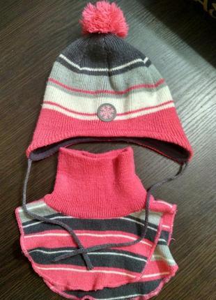 Набор комплект демисезонная шапка шарф манишка cool club шапочка снуд в полоску