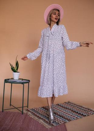 Сукня з воланом і бантом в горох,розміри xs/s,m/l