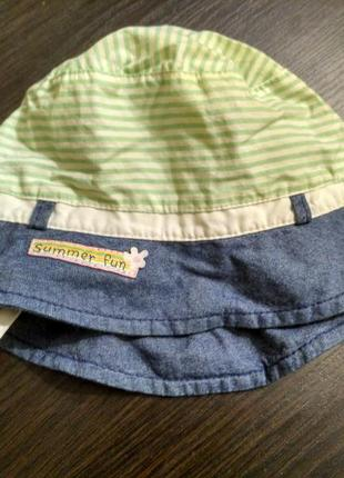 Шапочка панамка под джинс мятного цвета полоска