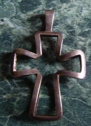 Подвеска - кулон крест 3d, серебро 925