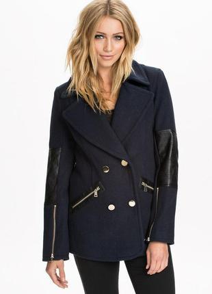Обнова! пальто укороченное куртка синее комби вставки эко кожа шерсть в составе качество