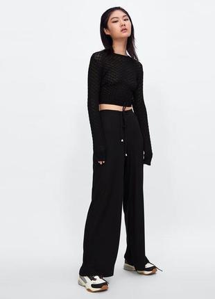 Обнова! брюки штаны джерси прямые свободные на манжете на завязках новые качество
