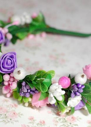 Обруч ободок с цветами под любой наряд